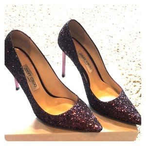 Jimmy Choo Wine Galaxy Glitter Fabric Shoes